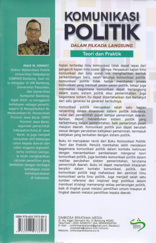 Cover Belakang Buku Komunikasi Politik Dalam Pilkada langsung(Teori dan Praktik) ed,Revisi