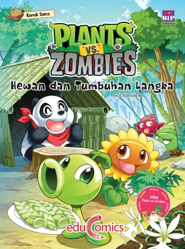 Cover Buku Educomics Plants Vs Zombies : Hewan Dan Tumbuhan Langka