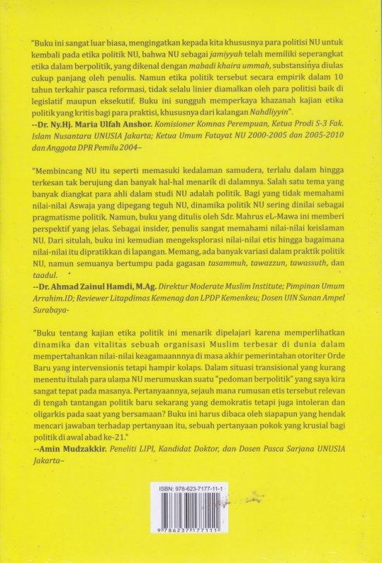 Cover Belakang Buku Aswaja Nu & Etika Berpolitik : Kajian atas Nu Masa Khidmah 1994-1999