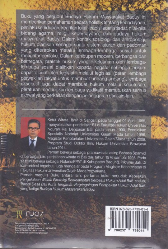 Cover Belakang Buku Budaya Hukum Masyarakat Baduy