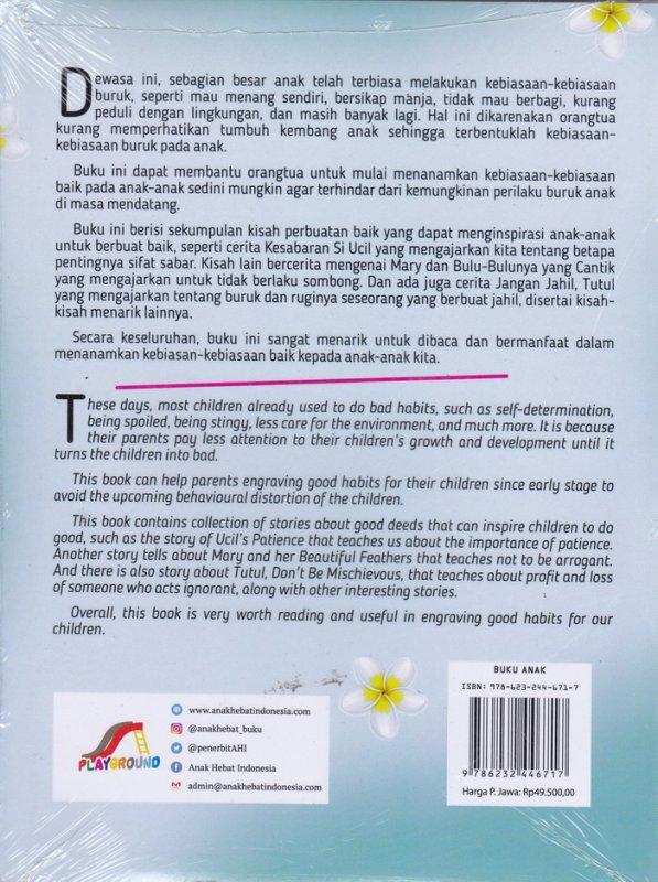 Cover Belakang Buku Meri dan Cerita-Cerita Tentang Kebiasaan Baik Lainnya(Bilingual Book)
