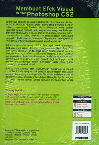 Cover Belakang Buku Buku Latihan Membuat Efek Visual dengan Photoshop CS2 + CD