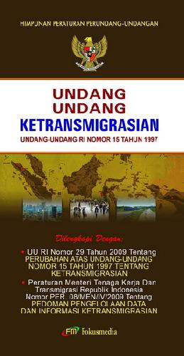 Cover Buku Undang-Undang Ketransmigrasian