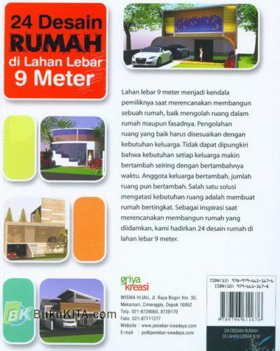Cover Belakang Buku 24 Desain Rumah di Lahan Lebar 9 Meter