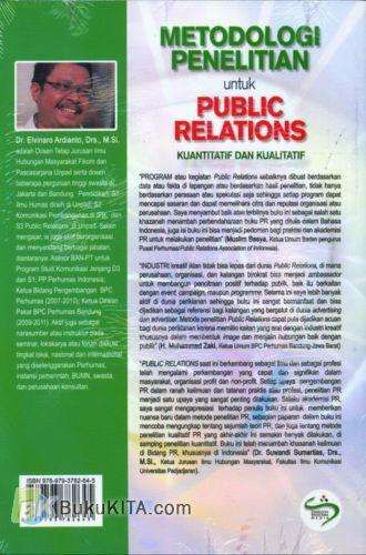 Cover Belakang Buku Metodologi Penelitian untuk Public Relations - Kuantitatif dan Kualitatif