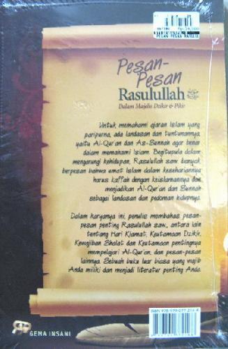 Cover Belakang Buku Pesan-Pesan Rasulullah Dalam Majelis Dzikir & Pikir