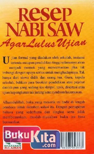 Cover Belakang Buku Resep Nabi Saw Agar Lulus Ujian