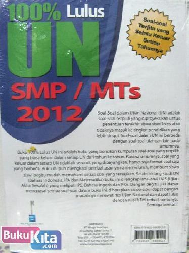 Cover Belakang Buku 100% Lulus Ujian Nasional SD/MI 2012