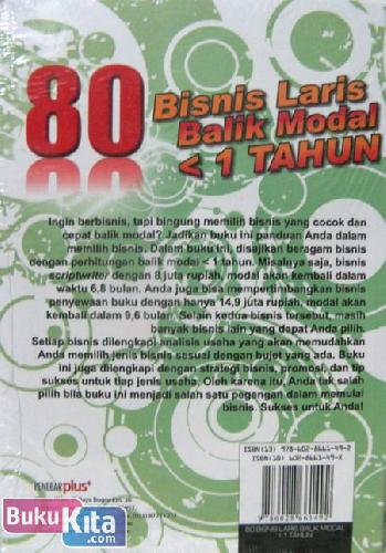 Cover Belakang Buku 80 Bisnis Laris Balik Modal < 1 Tahun