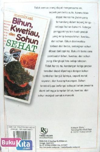 Cover Belakang Buku Membuat Bihun, Kwetiau, dan Sohun SEHAT Food Lovers