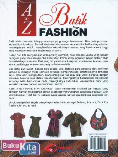 Cover Belakang Buku A to Z Batik For Fashion
