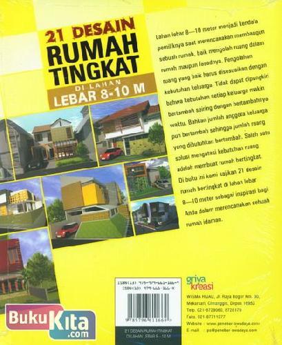 Cover Belakang Buku 21 Desain Rumah Tingkat Di Lahan Lebar 8-10 M