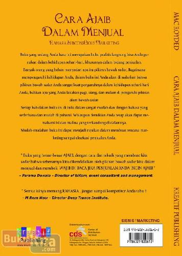 Cover Belakang Buku Cara Ajaib Dalam Menjual - Rahasia Subconscious Marketing