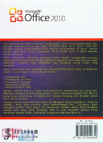Cover Belakang Buku Panduan Lengkap Microsoft Word 2010