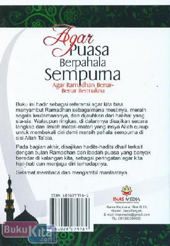 Cover Belakang Buku Agar Puasa Berpahala Sempurna : Agar Ramadhan Benar-Benar Bermakna