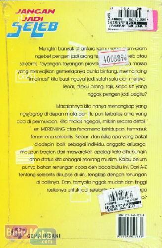 Cover Belakang Buku Jangan Jadi Seleb (Kado Untuk Remaja)