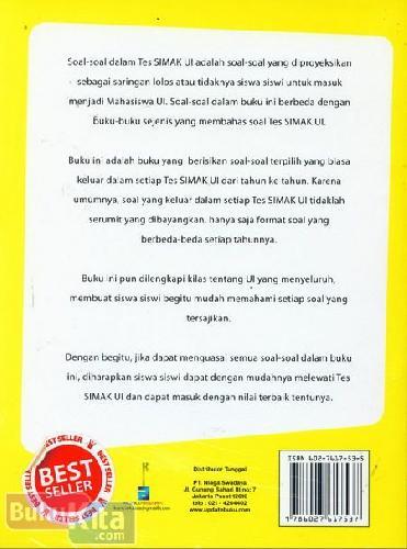 Cover Belakang Buku 100% Taklukan Soal-Soal Tes SIMAK Universitas Indonesia