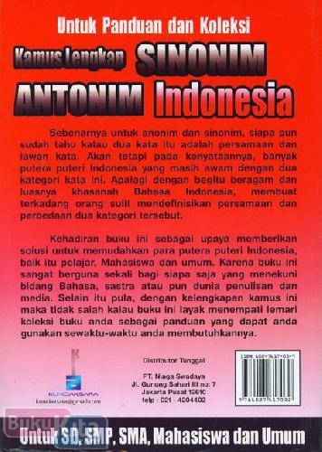 Cover Belakang Buku Kamus Lengkap Sinonim & Antonim Indonesia