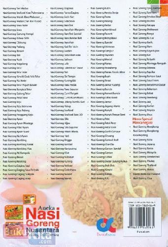 Cover Belakang Buku Aneka Nasi Goreng Nusantara Paling Istimewa - Mudah, Murah, Enak & Lezat Food Lovers