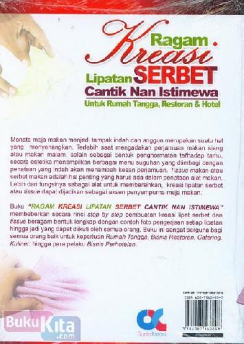 Cover Belakang Buku Ragam Kreasi Lipatan Serbet Cantik Nan Istimewa : Untuk Rumah Tangga, Restoran & Hotel