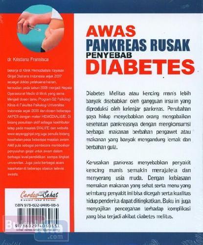 Cover Belakang Buku Awas Pankreas Rusak Penyebab Diabetes