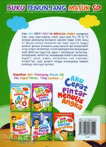 Cover Belakang Buku Aku Cepat Pintar Menulis Angka (untuk Pra TK & TK) - Full Color