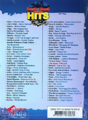 Cover Belakang Buku Kumpulan lagu Super Hits