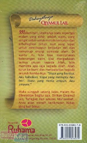 Cover Belakang Buku Dahsyatnya Qiyamul Lail Tahajjud & Muhasabah