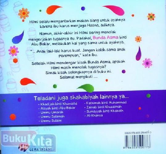 Cover Belakang Buku Seri Shahabiyah Asma Muslimah Teguh Pendirian