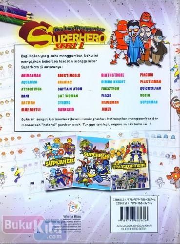 Cover Belakang Buku Aku Jago Menggambar Superhero Seri 1