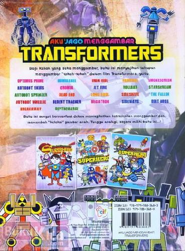 Cover Belakang Buku Aku Jago Menggambar Transformers