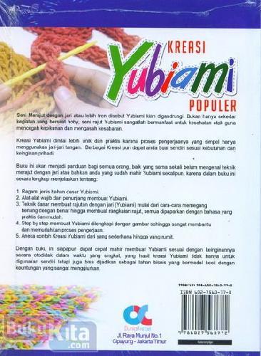 Cover Belakang Buku Kreasi Yubiami Populer (full color)