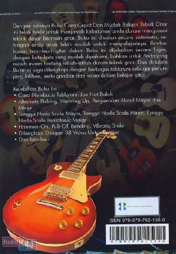 Cover Belakang Buku Kiat Sukses Cara Cepa Belajar Gitar