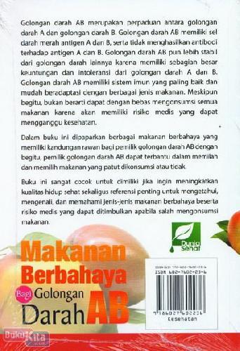 Cover Belakang Buku Makanan Berbahaya Bagi Golongan Darah AB