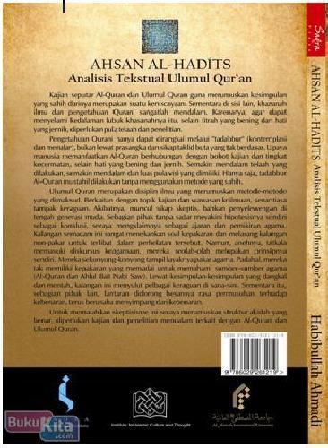 Cover Belakang Buku Ahsan Al-Hadits : Analisis Tekstual Ulumul Quran