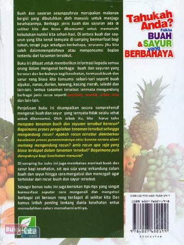 Cover Belakang Buku Tahukah Anda? Fakta Buah & Sayur yang Berbahaya (full color)