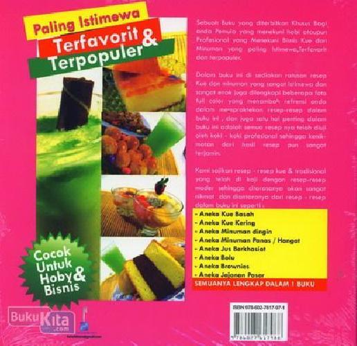 Cover Belakang Buku Resep Kue & Minuman Paling Istimewa Terfavorit & Terpopuler