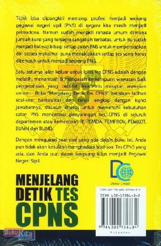 Cover Belakang Buku Menjelang Detik Tes CPNS