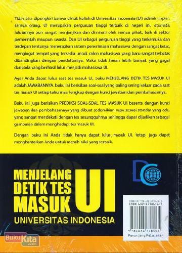 Cover Belakang Buku Menjelang Detik Tes Masuk Universitas Indonesia