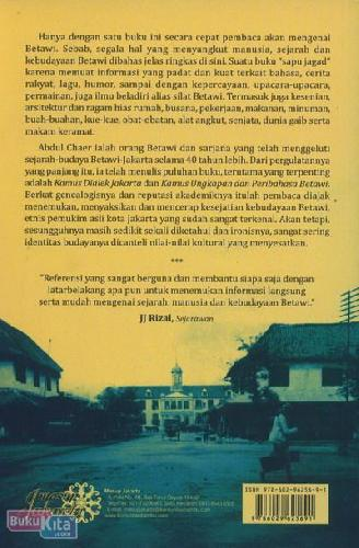Cover Belakang Buku Folklor Betawi : Kebudayaan & Kehidupan Orang Betawi
