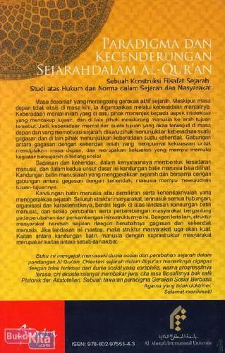 Cover Belakang Buku Paradigma dan Kecenderungan Sejarah Dalam Al-Quran