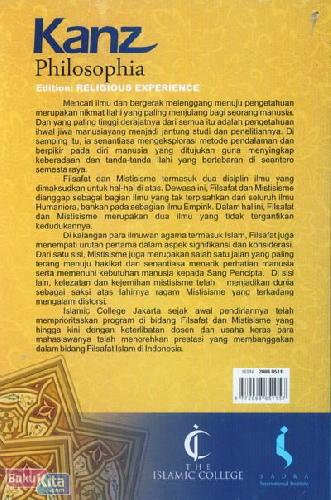 Cover Belakang Buku Kanz Philosophia - Edition: Religious Experience (Volume 1 Number 1 | Auguts-November 2011)