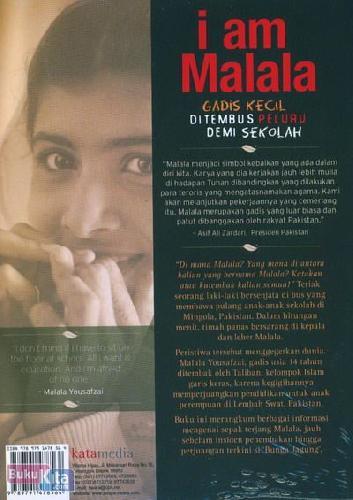 Cover Belakang Buku I am Malala : Gadis Kecil Ditembus Peluru Demi Sekolah