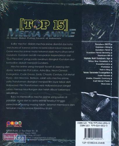Cover Belakang Buku Top 15 Mecha Anime (Full Color)