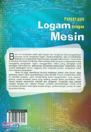Cover Belakang Buku Pengerjaan Logam Dengan Mesin