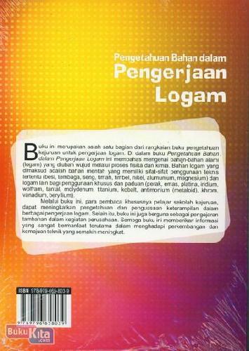 Cover Belakang Buku Pengetahuan Bahan dalam Pengerjaan Logam