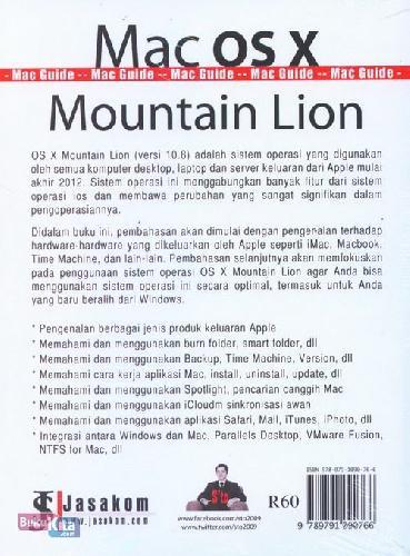 Cover Belakang Buku Mac Os x Mountain Lion