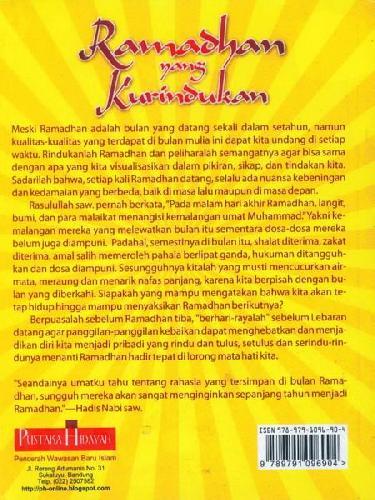 Cover Belakang Buku Ramadhan yang Kurindukan