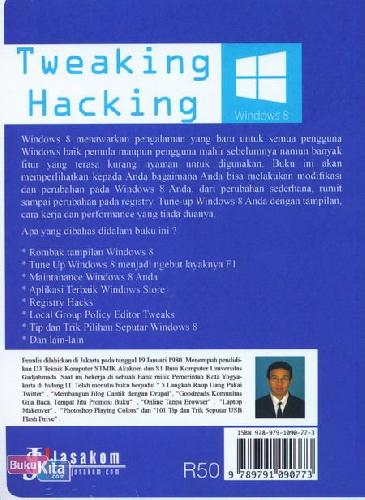 Cover Belakang Buku Windows 8 - Tweaking Hacking