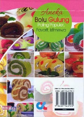 Cover Belakang Buku Aneka Bolu Gulung Paling Populer, Favorit, Istimewa (full color)